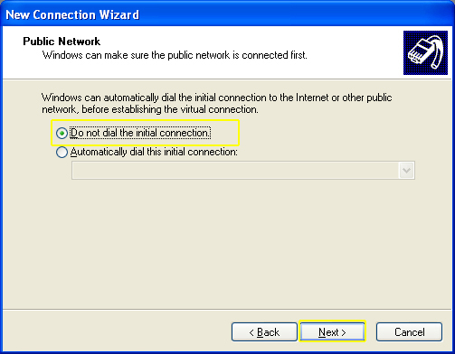 L2TP - Windows XP - Do not dial the initial connection