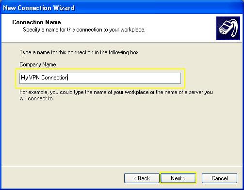 L2TP - Windows XP - My VPN Connection