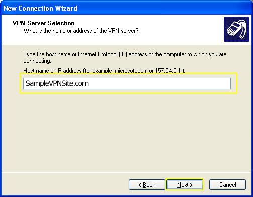L2TP - Windows XP - VPN Server Selection