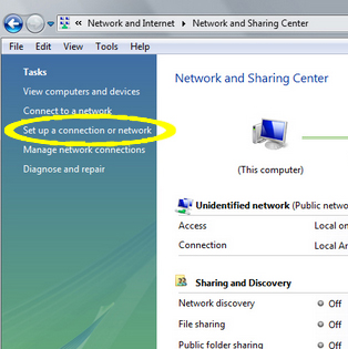 PPTP on Vista - Set up a connection or network