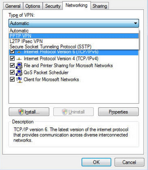 PPTP on Vista - networking tab