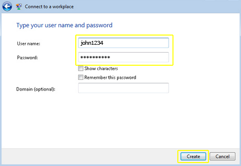 PPTP on Vista - remember this password