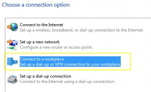 PPTP on Windows 7 - Connect to a workplace