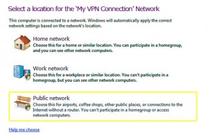 PPTP on Windows 7 - Public Network