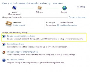 PPTP on Windows 7 - Set up a new connection or network