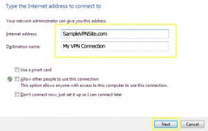 PPTP on Windows 7 - Type the Interet address to connect to