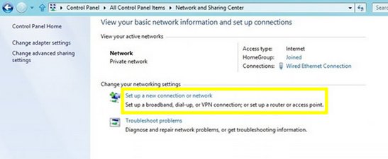 PPTP - windows 8 - set up a new connection or network