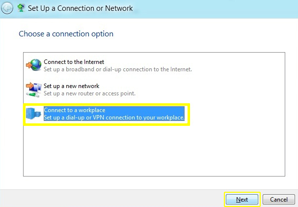 PPTP - windows 8 - set up a new connetion or network