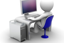 3D image of guy on computer